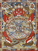 Népal, Bhaktapur, Wheel of life or wheel of Samsara. Kopan monastery.