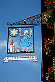 France, Alsace, Haut-Rhin, Riquewihr, general De Gaulle street, Preiss-Zimmer house, signboard