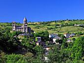 France, Auvergne, Puy de Dome, Saint Nectaire, romanesque church, general view