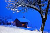 France, Rhone-Alpes, Alps, Haute Savoie, chalet in snowed landscape by night