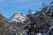 France, Alps, Hautes Alpes, Queyras, fort de Château-Queyras in winter