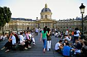 France, Paris, Pont des Arts, Institut de France, people