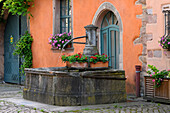 France, Alsace, Haut-Rhin, Bergheim, fountain