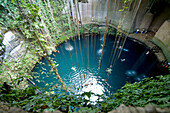 Mexico, Yucatan, Valladolid, swimming party in the Cenote Dzitnup (underground lake)