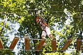 France, Le Fayet, Forest adventure course