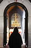 Israel, Jerusalem, Nun in Mary Magdalene Russian orthodox church on Mount of olives