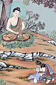 Corée du Sud, Séoul, Life of Buddha. A young woman offered the future Buddha a bowl of rice and milk.  He accepted it, restored his strength, and began his practice anew.