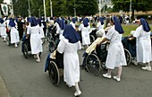 France, Pyrénées, Lourdes, Sick in Lourdes. Lourdes is one of the most visited pilgrimage sites in France