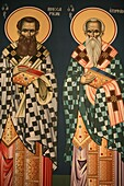 Grèce, Macédoine, Thessalonique, Greek orthodox icon depicting Saint Vissarion and Saint Epiphanos
