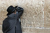 Israel, Jérusalem, Orthodox Jew praying at the Kotel, also called Western Wall or wailing wall