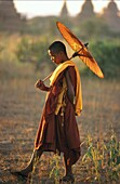 Myanmar, Burmese novice Buddhist monk with an umbrella