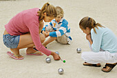 Children playing petanque