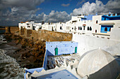 Africa, Maghreb, North africa,Morocco, Asilah (region of Tangier - Tetouan), medina and portuguese walls, marine cemetery and marabout in first ground