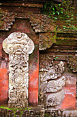 Reliefs on Red Wall, Bali, Indonesia