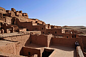 View above the flat roofs, Kasbah Ait Benhaddou, Ait Benhaddou, Atlas Mountains, South of the High Atlas, Morocco, Africa