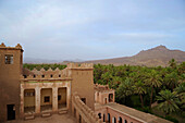 Palmerie and Kasbah Asslim in Agdz, view from the roof towards the desert mountains, Draa South of the High Atlas, Morocco, Africa