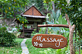 Sign in front of bamboo hut, holiday complex Aonang Cliff View Resort, Krabi, Thailand, Asia