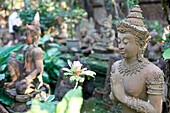 Figure from the Ramayana at the sculpture garden of a terracotta manufacture, Chiang Mai, Thailand, Asia