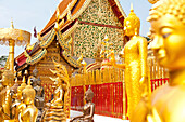 Wat Doi Suthep, golden buddha statues and rich buddhist architecture, buddhist temple on a mountain, Chiang Mai, Thailand, Asia