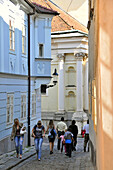 People in the alleys of the old town of Bratislava, Slovakia, Europe
