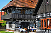 Painted wooden houses at Cicmany, western Slovakia, Europe