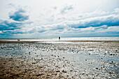 Strand am Goting Kliff unter Wolkenhimmel, Insel Föhr, Schleswig Holstein, Deutschland, Europa
