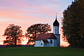 Chapel in the afterglow, Hub Chapel, Upper Bavaria, Germany, Europe