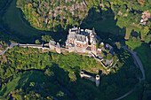 Aerial view of Eltz castle above the Moselle river, Muenstermaifeld, Eifel, Rhineland Palatinate, Germany, Europe