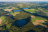 Aerial view of Dauner Maare, Gemündener Maar und Schalkenmehrener Maar, rural district of Daun, Rhineland Palatinate, Germany, Europe
