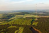 Aerial view of transmitting mast Scharteberg, Eifel, Rhineland Palatinate, Germany, Europe