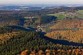 Aerial view of forest Salmwald in autumn, Eifel, Rhineland Palatinate, Germany, Europe