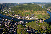 Aerial view of the town of Cochem with Cochem castle at the Moselle river, Eifel, Rhineland Palatinate, Gemany, Europe
