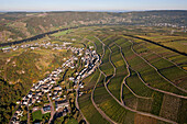 Aerial view of the Moselle river at Neumagen and Dhron, Eifel, Rhineland Palatinate, Gemany, Europe