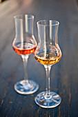 Two glasses of schnaps, Weltenburg, Bavaria, Germany, Europe