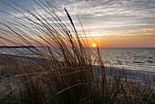 Sunrise at the seaside resort of Lobbe, Baltic Sea, Island of Ruegen, Mecklenburg Western Pomerania, Germany