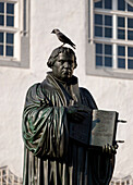 Martin Luther Monument outside the city hall on the market square, Lutherstadt Wittenberg, Saxony-Anhalt, Germany