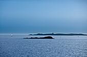Sailing boat and islands in the Gothenburg archipelago, near Gothenburg, Vaster-Gotaland, Sweden