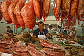 Butchers stand, weekly market, Arta, town, Mallorca, Balearic Islands, Spain, Europe