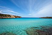 Idyllic bay in the sunlight, Cala Varques, Mallorca, Balearic Islands, Spain, Europe