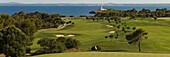 View of golf course at the coast, Club de Golf Alcanada, Isla d'Alcanada, Mallorca, Balearic Islands, Spain, Europe