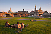 Canaletto view, view over the Elbe river to Augustus bridge, Frauenkirche, Staendehaus, Hofkirche and Dresden castle in the evening light, Dresden, Saxonia, Germany, Europe