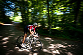 Man road cycling in forest, Bergisches Land, North Rhine-Westphalia, Germany