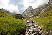 Hikers, Picos de Europa, Cantabrian Mountains, Cantabria, Spain