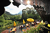 Beergarden above Kufstein, lower Inn valley, Tyrol, Austria, Europe