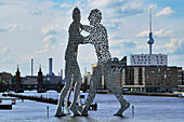 Molecule Man, metal figure in the river Spree, Friedrichshain, Berlin, Germany, Europe