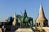 Monument of Saint Stephen and Fisherman's Bastion in the sunlight, Budapest, Hungary, Europe