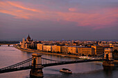 Danube river, House of Parliament and Chain Bridge in the afterglow, Budapest, Hungary, Europe