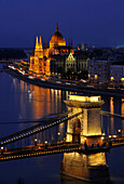 Danube river, House of Parliament and Chain Bridge at night, Budapest, Hungary, Europe