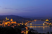View over Castle hill, Danube river and Chain Bridge in the evening, Budapest, Hungary, Europe