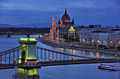 Danube river, House of Parliament and Chain Bridge in the evening, Budapest, Hungary, Europe